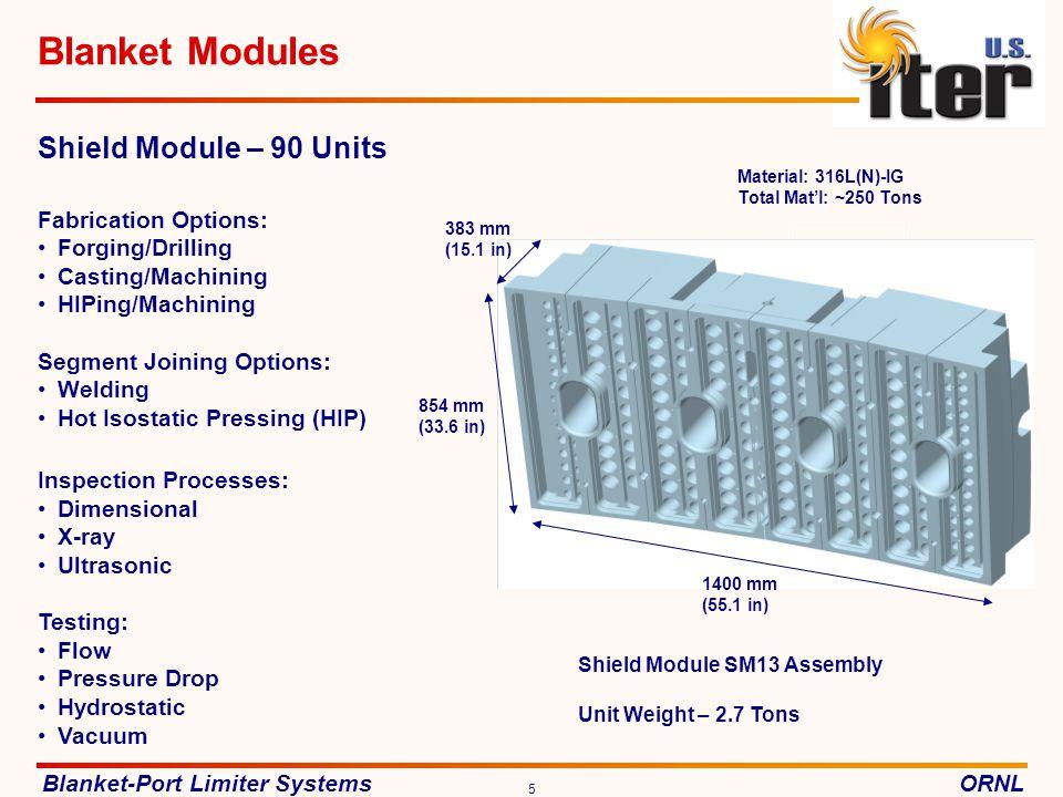 Blanket-Port Limiter SystemsORNL 16 Port Limiters R&D DESIGN FABRICATION SHIPPING & ASSEMBLY