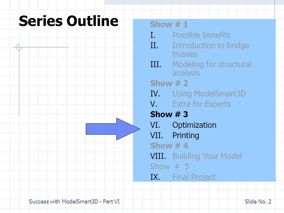 Success with ModelSmart3D - Part VI Slide No.3 VI.