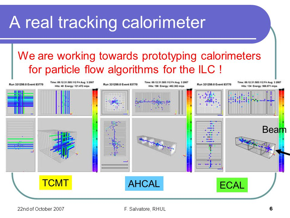 22nd of October 2007F. Salvatore, RHUL6 A real tracking calorimeter We are working towards prototyping calorimeters for particle flow algorithms for t