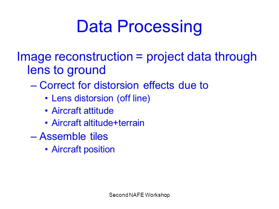 Second NAFE Workshop Data Processing Image reconstruction = project data through lens to ground –Correct for distorsion effects due to Lens distorsion