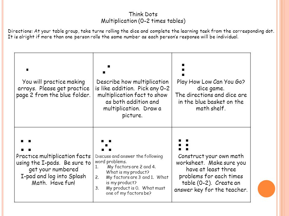 You will practice making arrays. Please get practice page 2 from the blue folder. Describe how multiplication is like addition. Pick any 0-2 multiplic