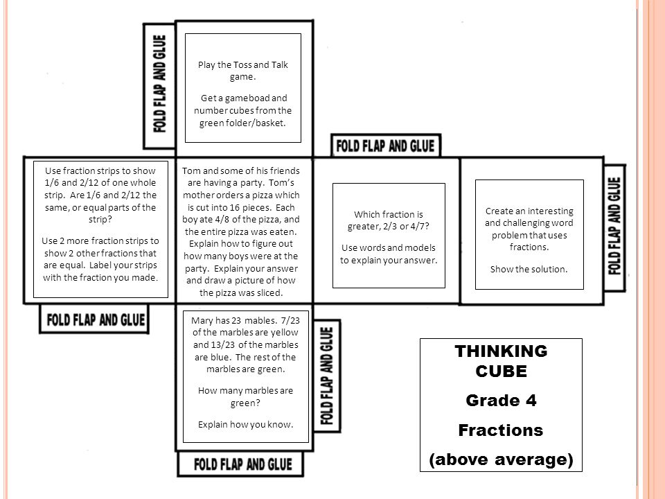 THINKING CUBE Grade 4 Fractions (above average) Play the Toss and Talk game. Get a gameboad and number cubes from the green folder/basket. Use fractio