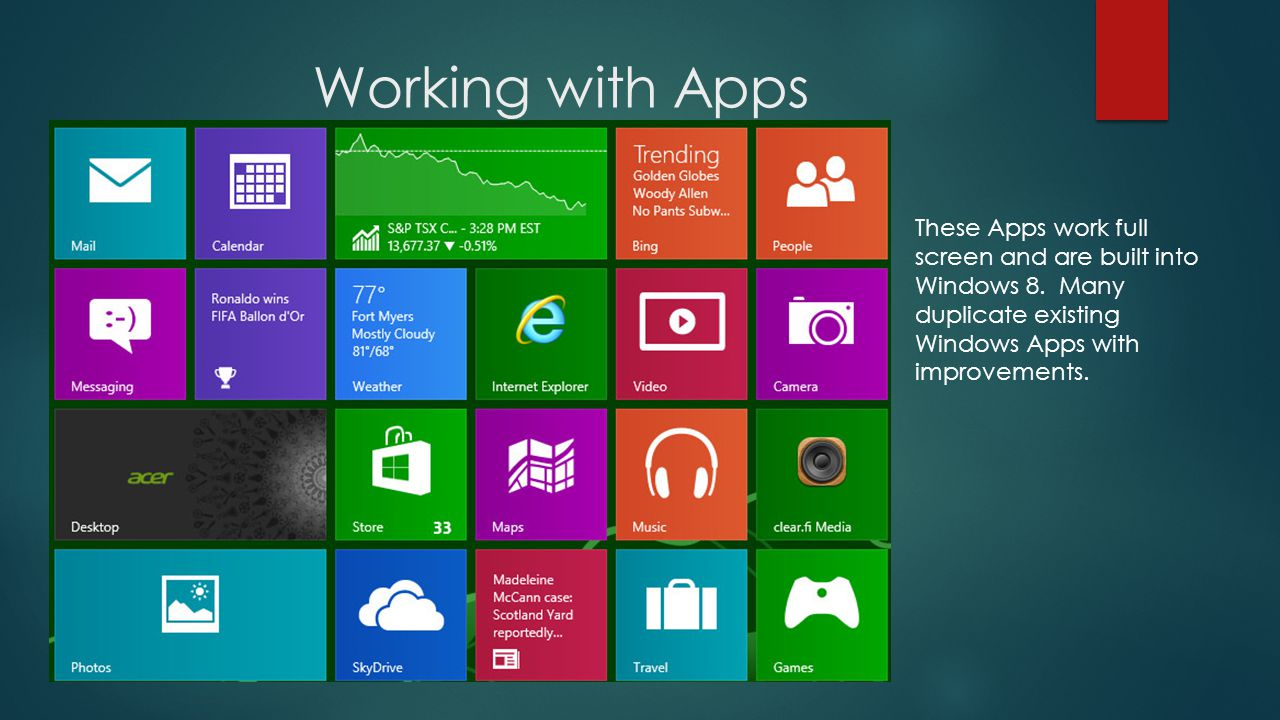Working with Apps These Apps work full screen and are built into Windows 8.