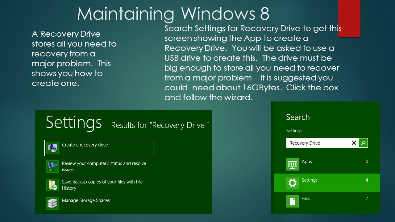 Maintaining Windows 8 Search Settings for Recovery Drive to get this screen showing the App to create a Recovery Drive.