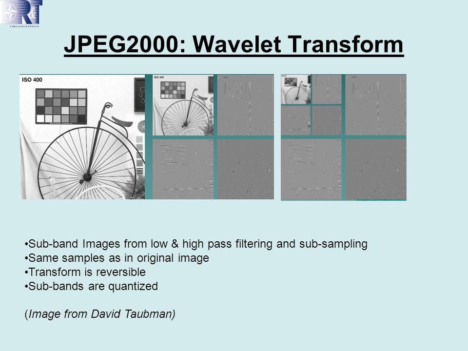 JPEG2000: Wavelet Transform Sub-band Images from low & high pass filtering and sub-sampling Same samples as in original image Transform is reversible