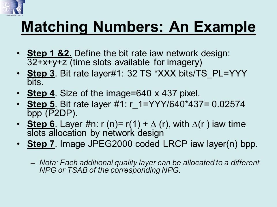 Matching Numbers: An Example Step 1 &2. Define the bit rate iaw network design: 32+x+y+z (time slots available for imagery) Step 3. Bit rate layer#1: