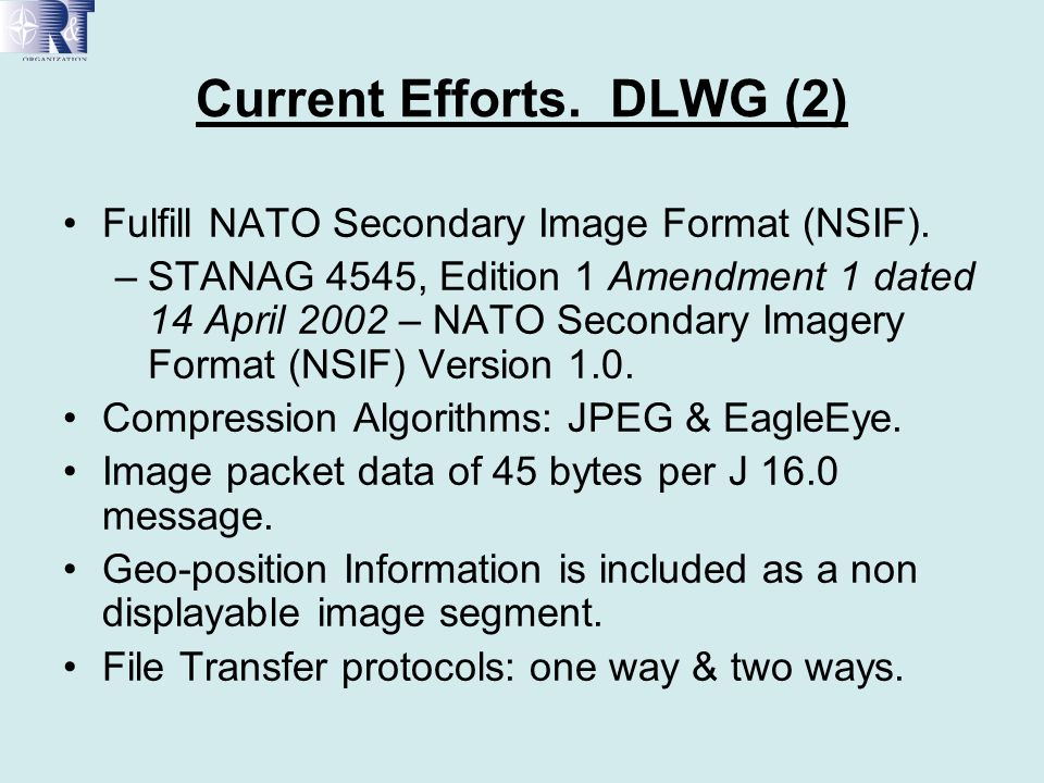 Geo Referenced Images (Geography Markup Language) JPEG2000 doesnt specify mechanism for geo- referencing the image, describing the sensor characteristics,… JPEG2000 provides room for boxes containing arbitrary XML data.