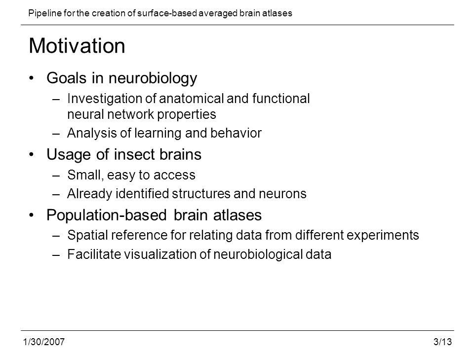 4/13 Pipeline for the creation of surface-based averaged brain atlases 1/30/2007 Related work Human brain atlases –Registration and averaging strategies: Guimond et al.
