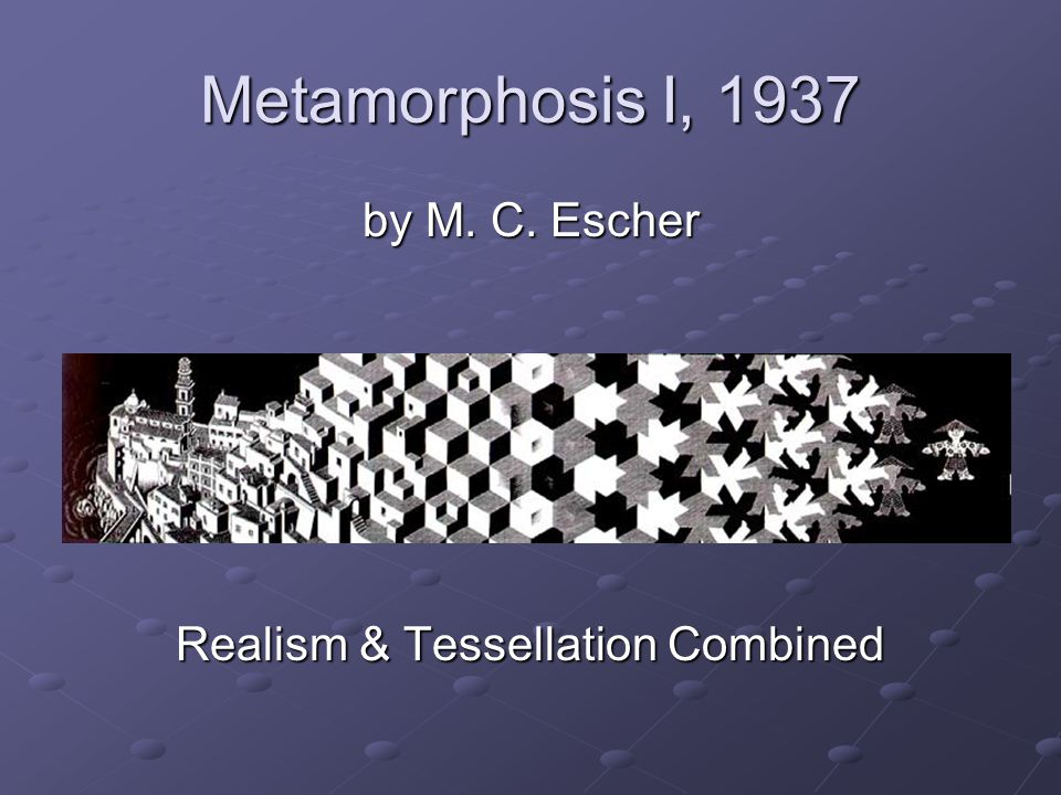 Metamorphosis I, 1937 by M. C. Escher Realism & Tessellation Combined