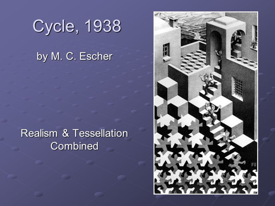 Cycle, 1938 by M. C. Escher Realism & Tessellation Combined