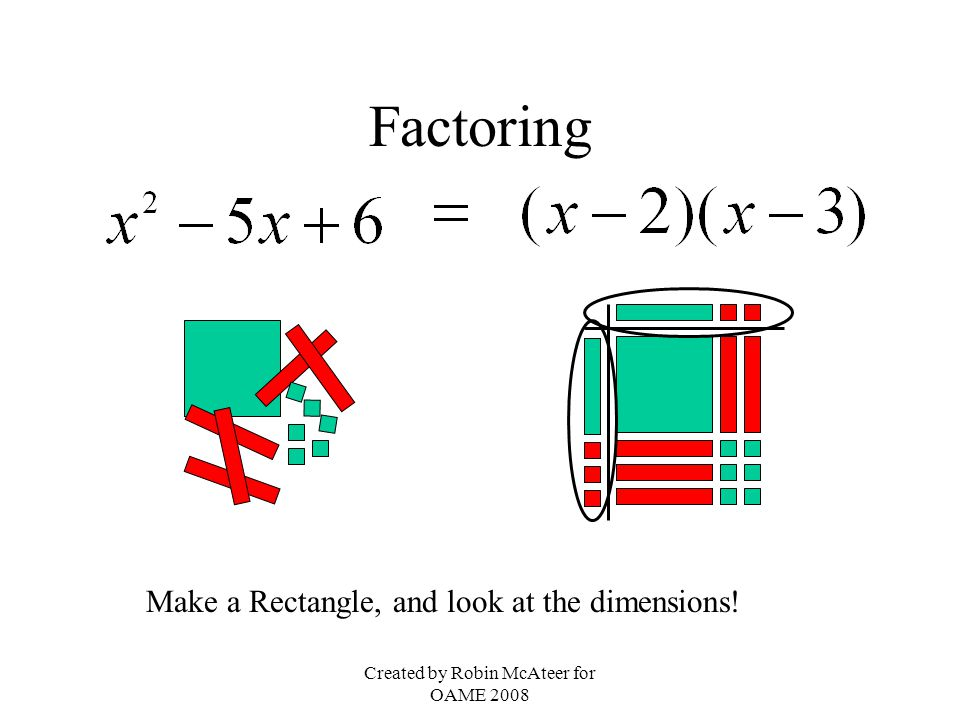 Created by Robin McAteer for OAME 2008 Factoring Make a Rectangle, and look at the dimensions!
