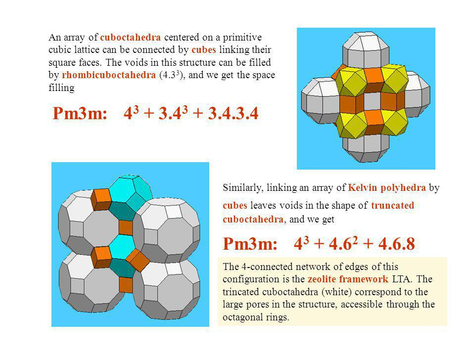 An array of cuboctahedra centered on a primitive cubic lattice can be connected by cubes linking their square faces.