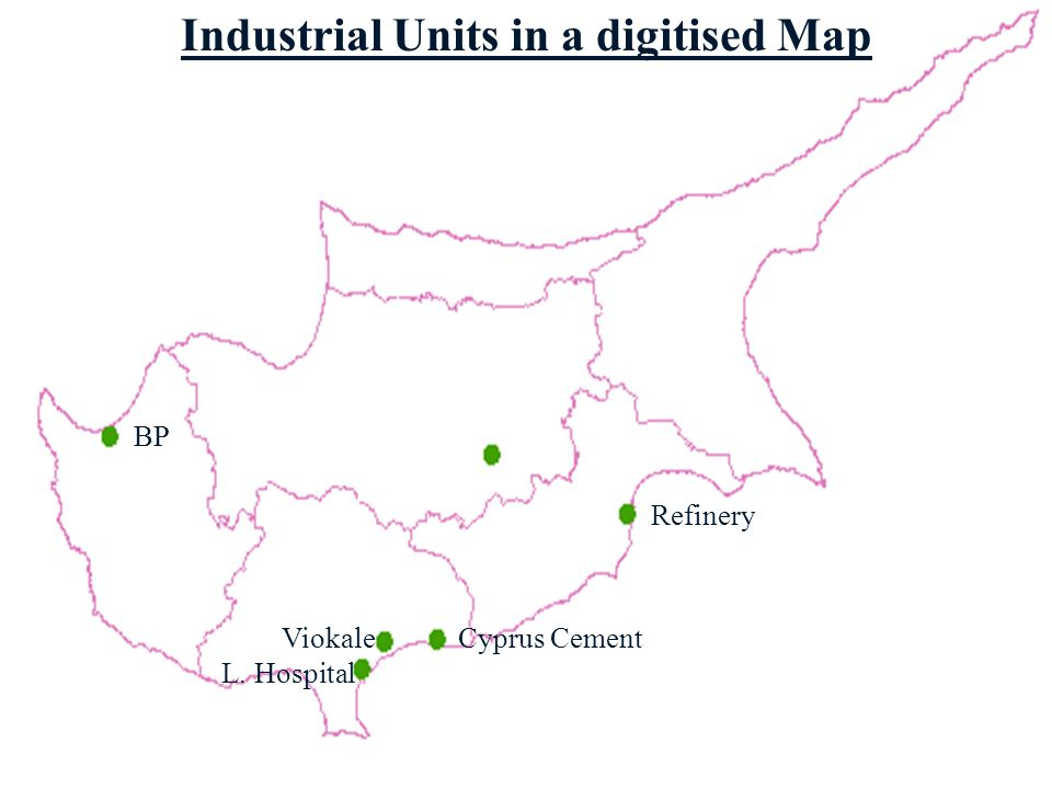 C. Environmental Weak Areas b Appearance of industrial units in a digitised map of Cyprus b Emission Loads of a specified area/district/country