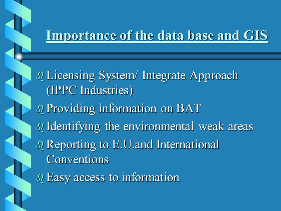 The Database includes information on the following: b General information on the industrial unit b Raw materials/ Products b Industrial Emissions(Air,