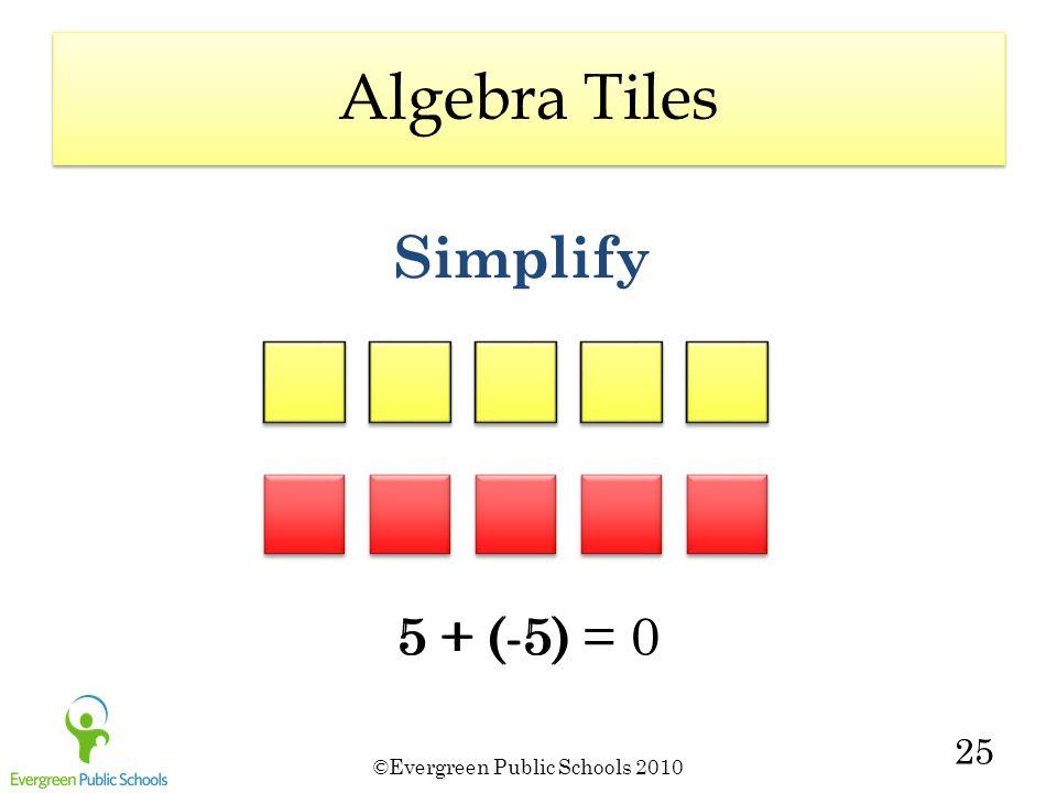 ©Evergreen Public Schools 2010 25 Simplify 5 + (-5) = 05 + (-5) Algebra Tiles