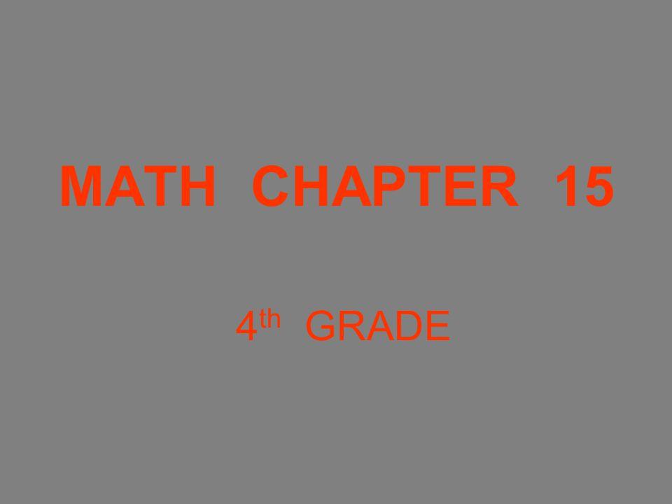 MATH CHAPTER 15 4 th GRADE