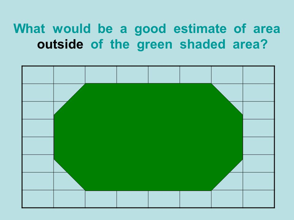 What would be a good estimate of area outside of the green shaded area?
