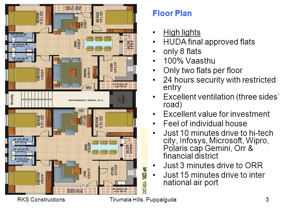RKS ConstructionsTirumala Hills, Puppalguda3 Floor Plan High lights HUDA final approved flats only 8 flats 100% Vaasthu Only two flats per floor 24 hours security with restricted entry Excellent ventilation (three sides road) Excellent value for investment Feel of individual house Just 10 minutes drive to hi-tech city, Infosys, Microsoft, Wipro, Polaris cap Gemini, Orr & financial district Just 3 minutes drive to ORR Just 15 minutes drive to inter national air port