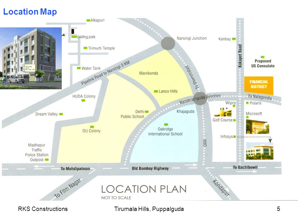 RKS ConstructionsTirumala Hills, Puppalguda5 Location Map