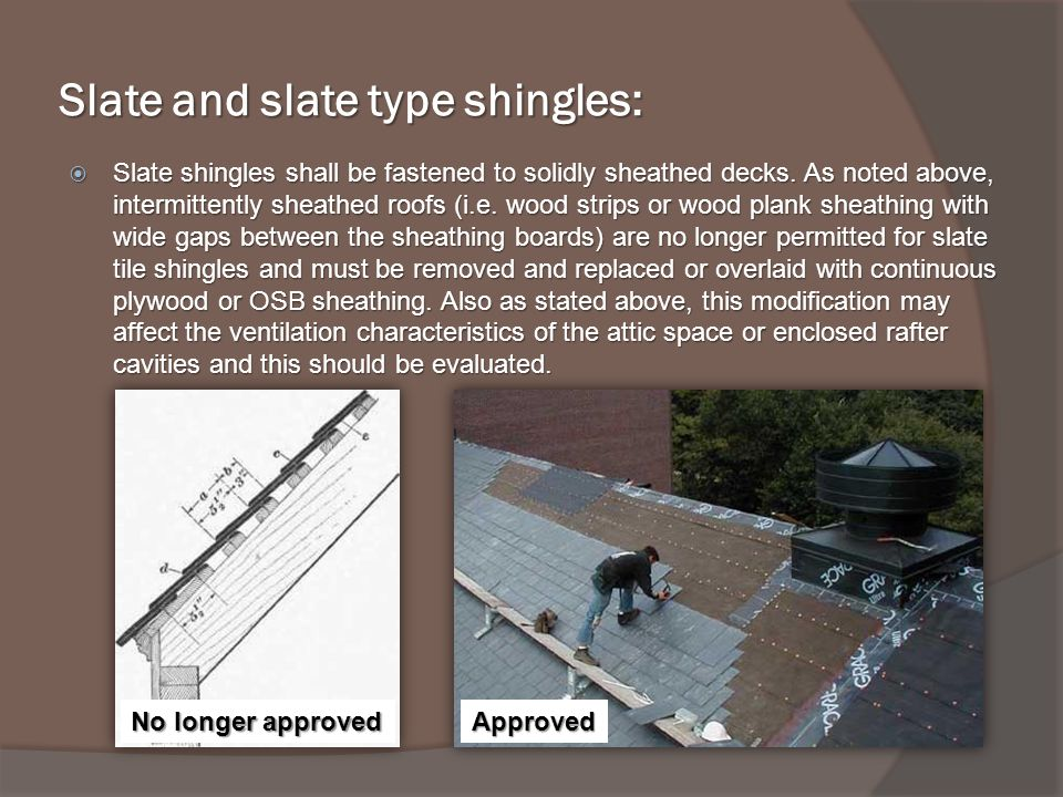 Slate and slate type shingles: Slate shingles shall be fastened to solidly sheathed decks.