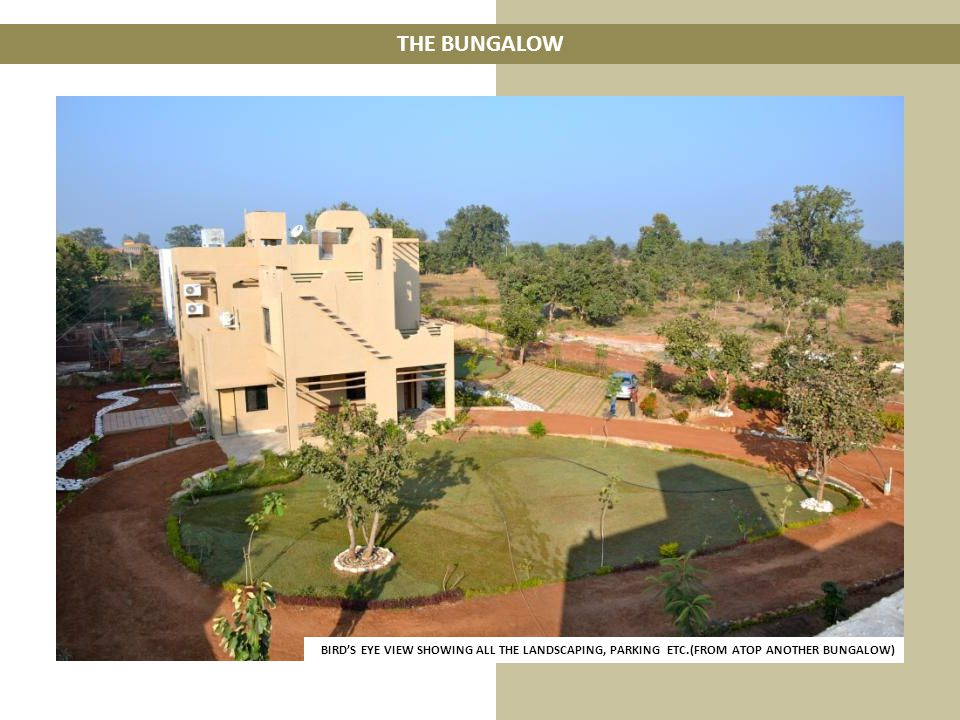 THE BUNGALOW BIRDS EYE VIEW SHOWING ALL THE LANDSCAPING, PARKING ETC.(FROM ATOP ANOTHER BUNGALOW)