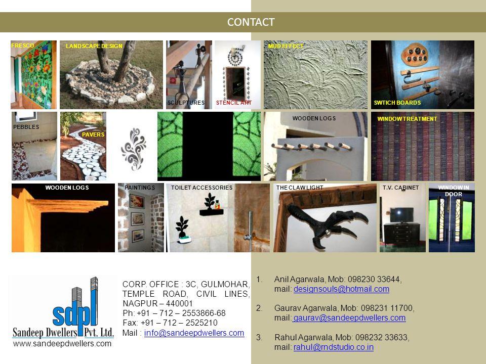 CONTACT CORP. OFFICE : 3C, GULMOHAR, TEMPLE ROAD, CIVIL LINES, NAGPUR – 440001 Ph: +91 – 712 – 2553866-68 Fax: +91 – 712 – 2525210 Mail : info@sandeep