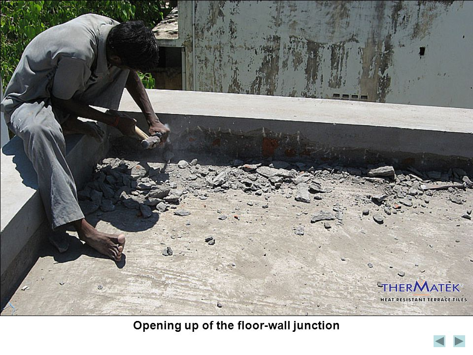 Opening up of the floor-wall junction
