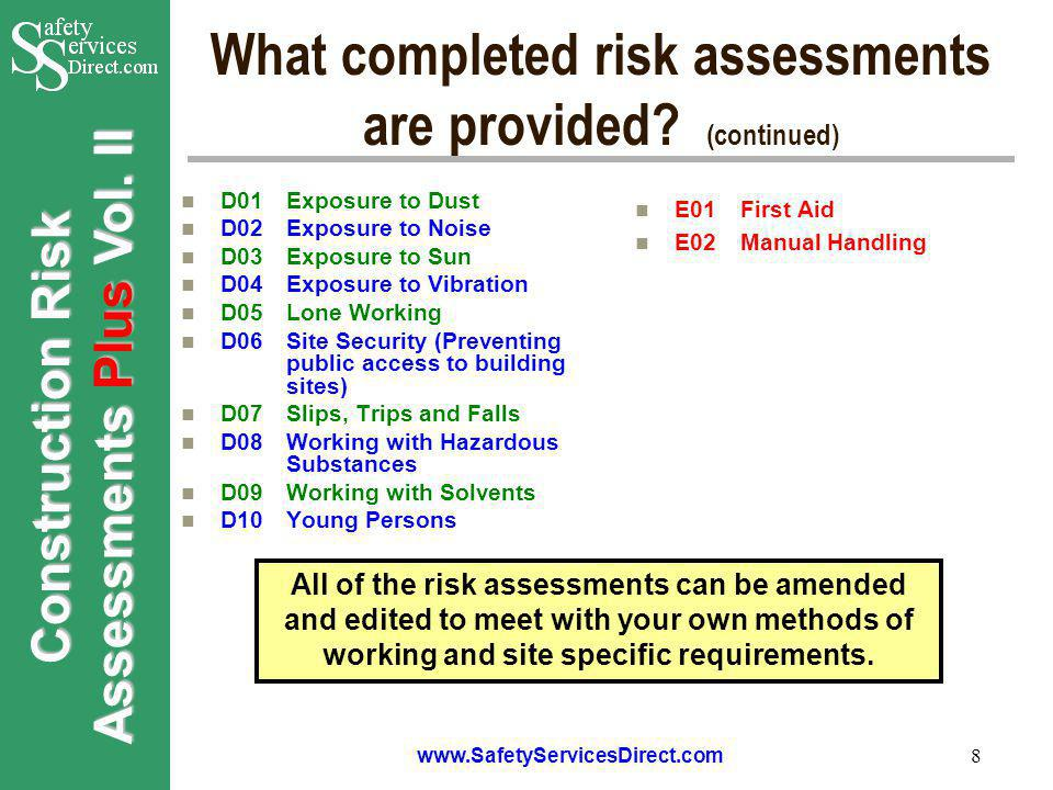 Construction Risk Assessments Plus Vol. II www.SafetyServicesDirect.com 8 What completed risk assessments are provided? (continued) D01Exposure to Dus