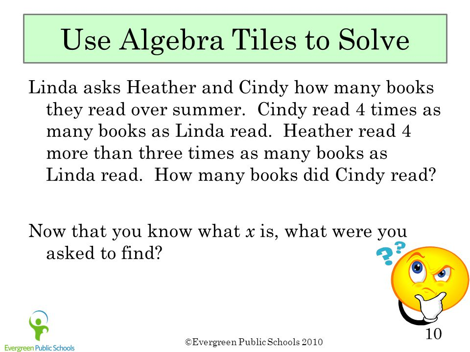 ©Evergreen Public Schools 2010 10 Use Algebra Tiles to Solve Linda asks Heather and Cindy how many books they read over summer. Cindy read 4 times as