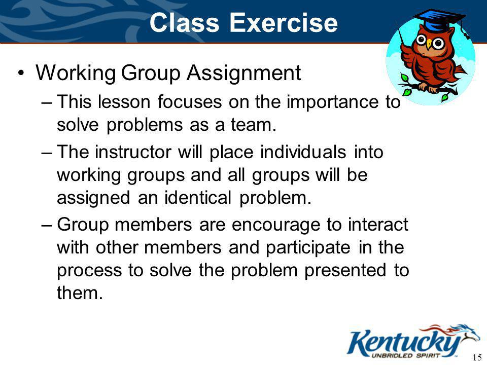 15 Class Exercise Working Group Assignment –This lesson focuses on the importance to solve problems as a team.