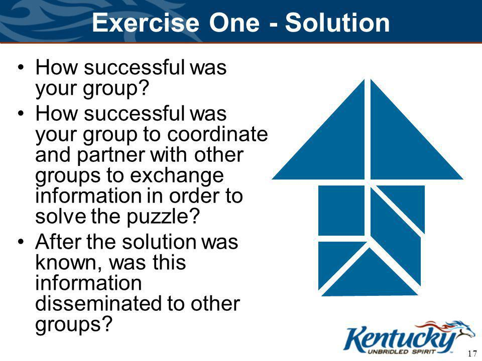 17 Exercise One - Solution How successful was your group.