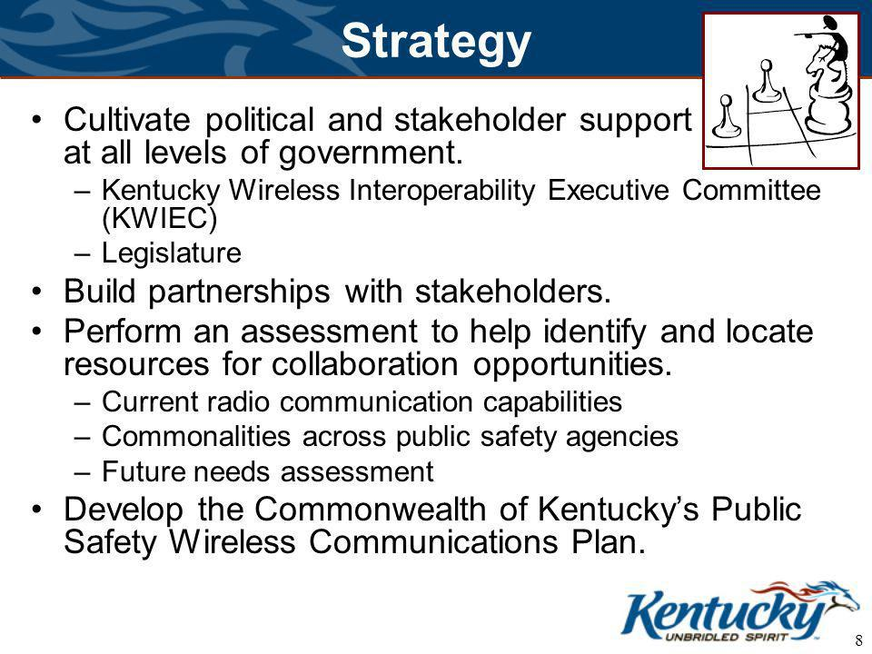 8 Strategy Cultivate political and stakeholder support at all levels of government.