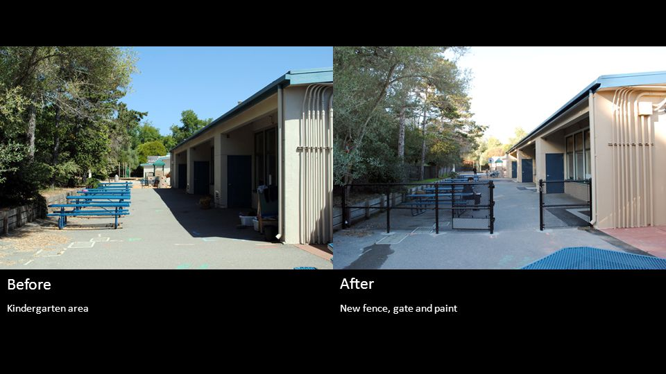 New fence, gate and paint Before After Kindergarten area