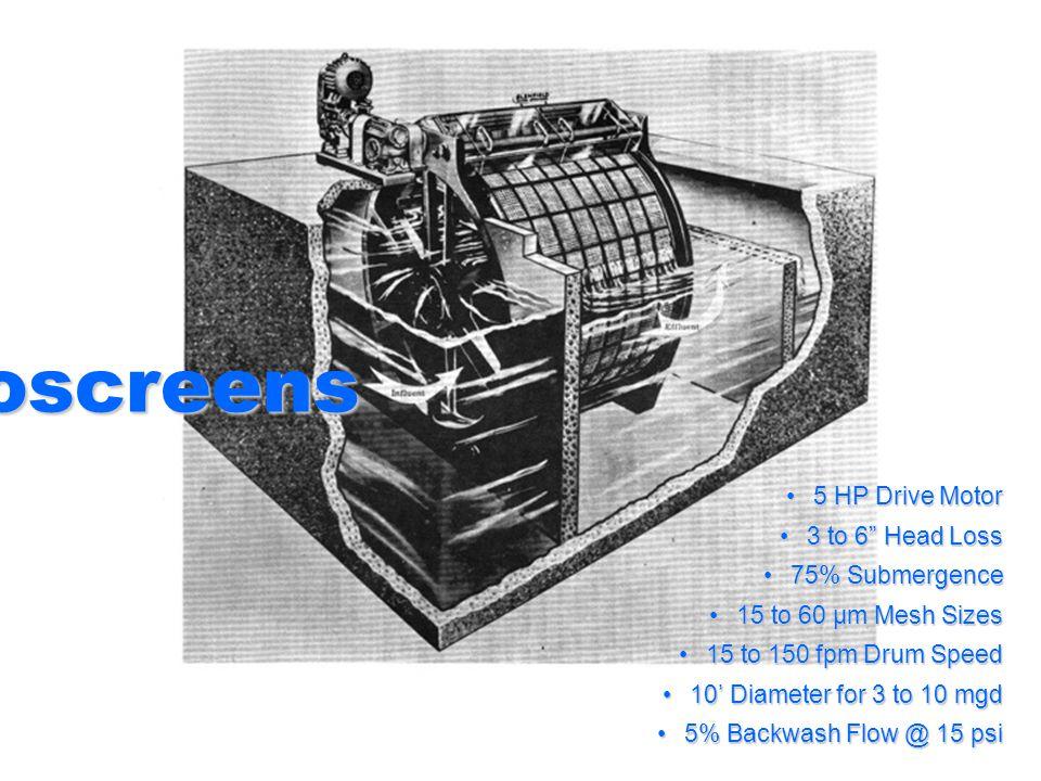 Microscreens 5 HP Drive Motor5 HP Drive Motor 3 to 6 Head Loss3 to 6 Head Loss 75% Submergence75% Submergence 15 to 60 µm Mesh Sizes15 to 60 µm Mesh S