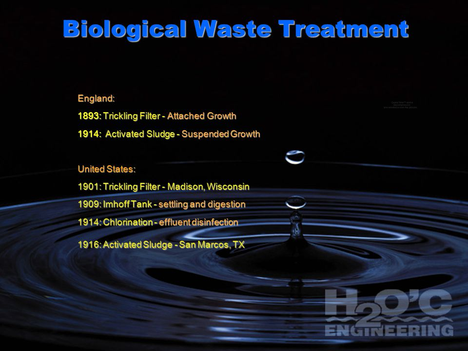 Biological Waste Treatment England: 1893: Trickling Filter - Attached Growth 1914: Activated Sludge - Suspended Growth United States: 1901: Trickling
