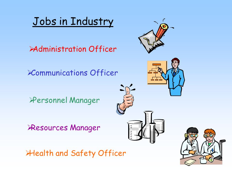 Jobs in Industry Administration Officer Communications Officer Personnel Manager Resources Manager Health and Safety Officer