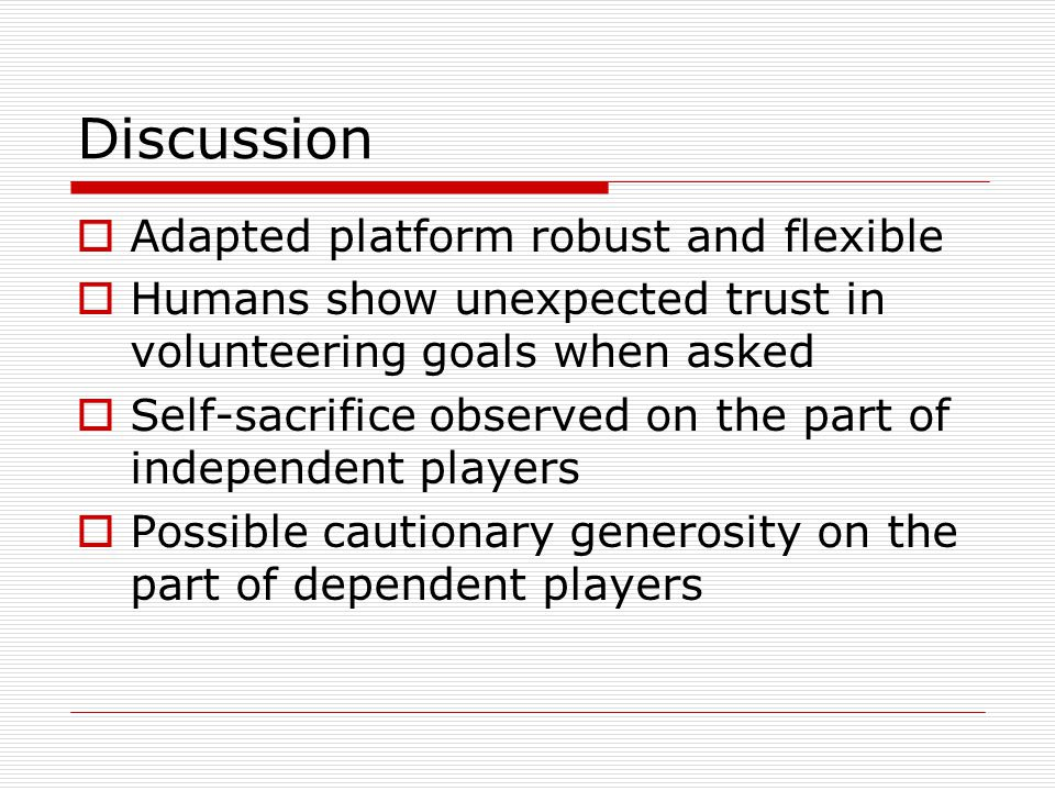 Discussion Adapted platform robust and flexible Humans show unexpected trust in volunteering goals when asked Self-sacrifice observed on the part of independent players Possible cautionary generosity on the part of dependent players