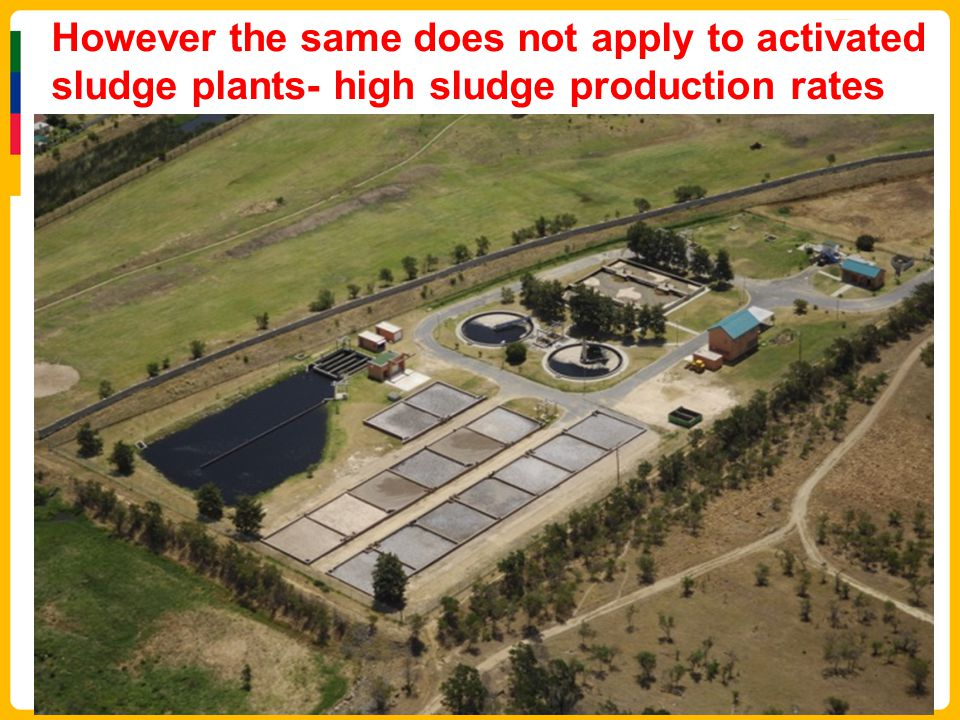 However the same does not apply to activated sludge plants- high sludge production rates Winter sludge disposal costs = R0,75m