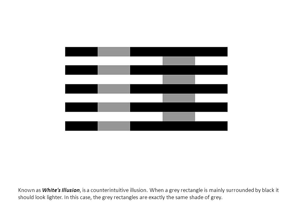 Known as White's Illusion, is a counterintuitive illusion. When a grey rectangle is mainly surrounded by black it should look lighter. In this case, t