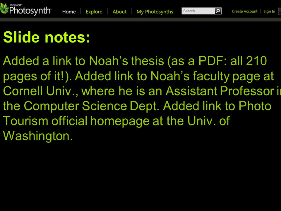 Slide notes: Added a link to Noahs thesis (as a PDF: all 210 pages of it!).