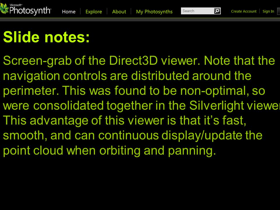 Slide notes: Screen-grab of the Direct3D viewer.