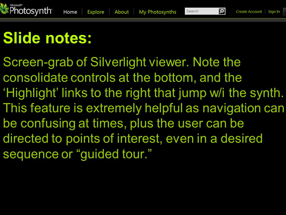Slide notes: Screen-grab of Silverlight viewer.