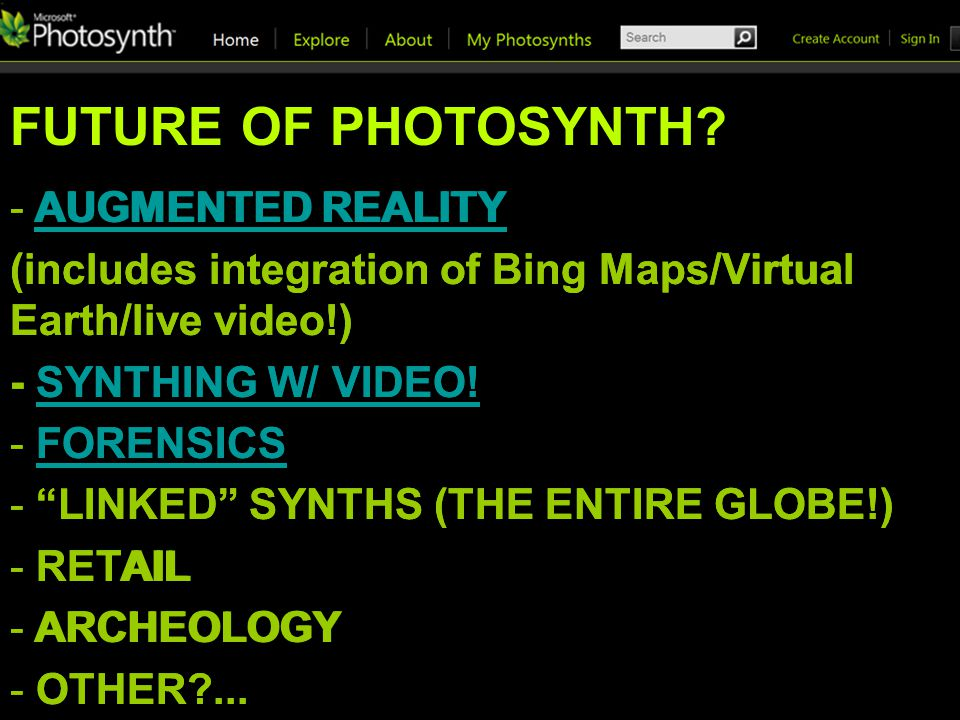 FUTURE OF PHOTOSYNTH.