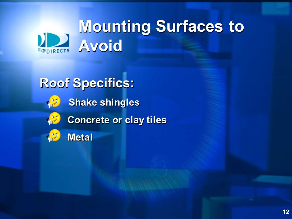 11 Mounting Surfaces to Avoid Wall Specifics: Dry rotted siding Vinyl siding Aluminum siding Fiberglass Wall Specifics: Dry rotted siding Vinyl siding Aluminum siding Fiberglass