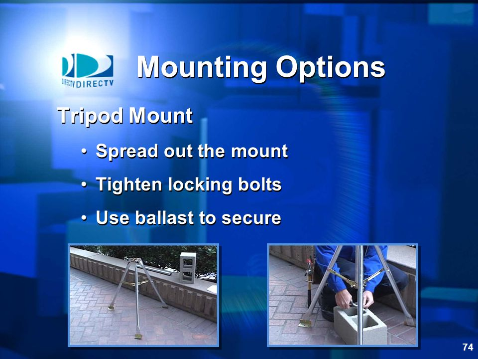 73 Mounting Options Rail Mount Check structural integrity 4 5/16 bolts and nuts Two ODU bases Bolt together on each side of the rail Tighten Rail Mount Check structural integrity 4 5/16 bolts and nuts Two ODU bases Bolt together on each side of the rail Tighten