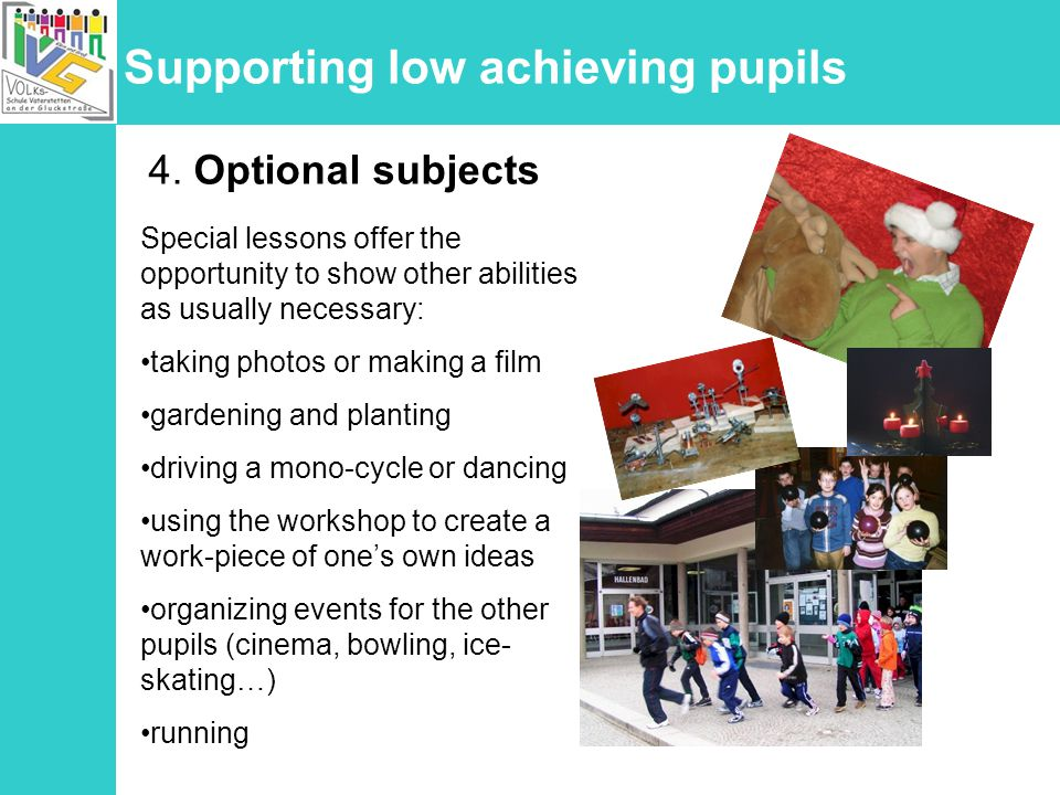 Supporting low achieving pupils 4.