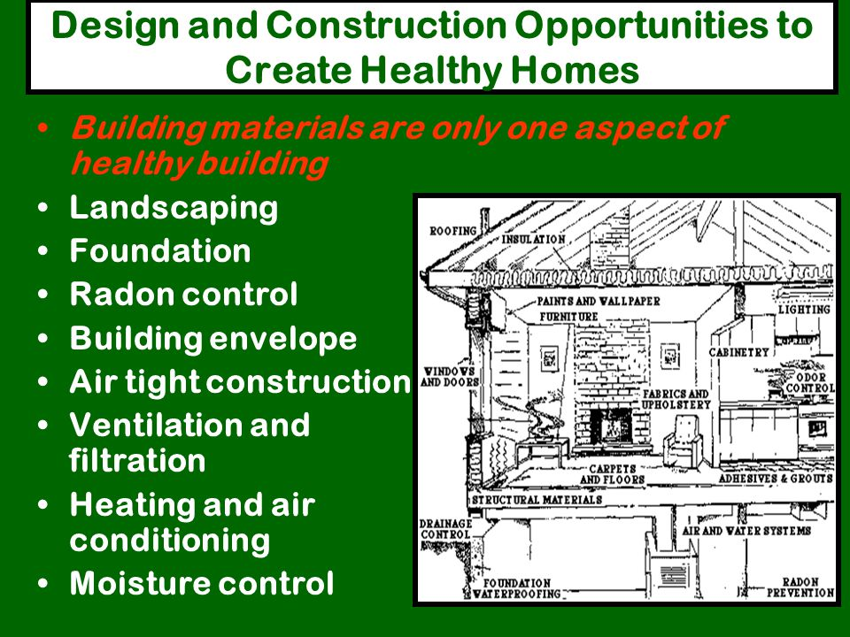 Overview: Green Building Goals People Minimize exposure to workers Create healthy spaces for occupants Use low maintenance, durable materials Environm