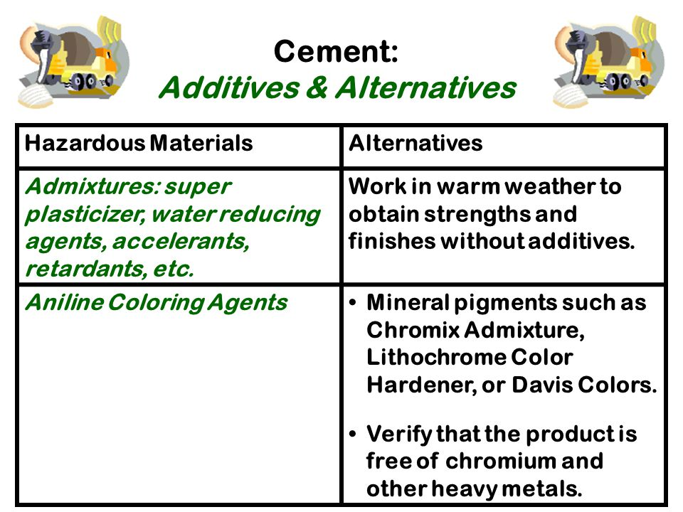 Cement: Additives & Alternatives These products are mostly an issue for people who have chemical sensitivities Hazardous MaterialsAlternatives Diesel