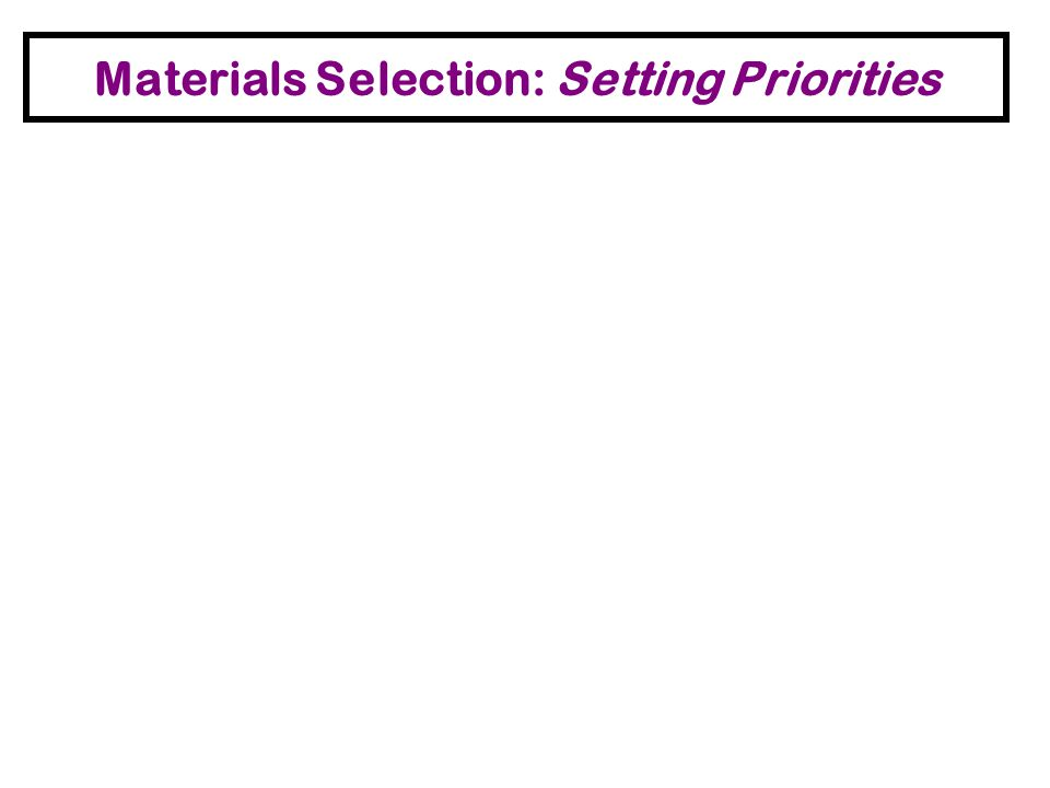 Materials Selection: Setting Priorities Short and long term exposures for workers and homeowners. Quantity – how much of the material will be exposed