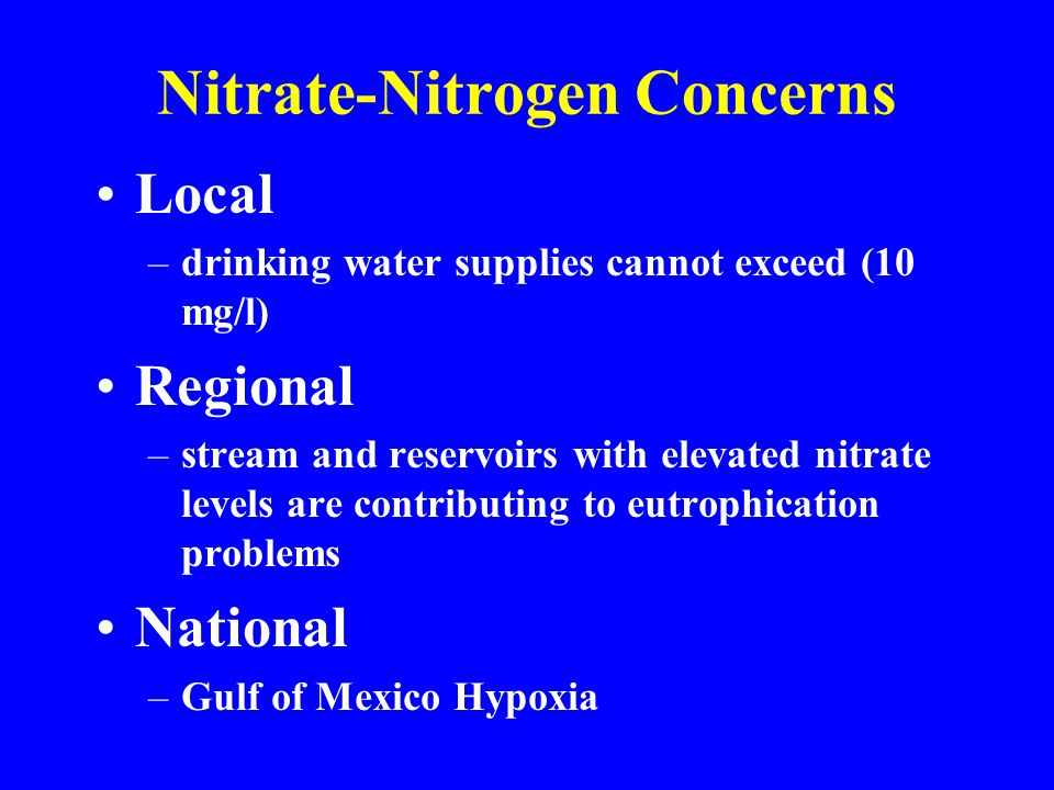 Human Health Problems Associated with Elevated Nitrate Levels in Drinking Water Blue Baby Syndrome Non-Hodgkins Lymphoma